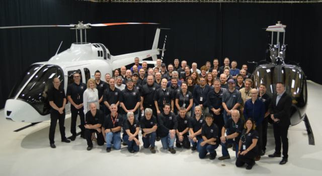 The Bell 505 Jet Ranger X program team members recently gathered to celebrate the deliveries.Bell Photo