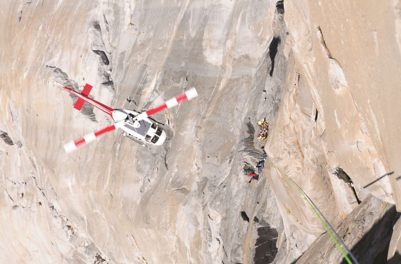 High-angle cliff rescues with technical terrain short haul rescues are the hallmark of SAR work at Yosemite National Park. Tom Evans Photo
