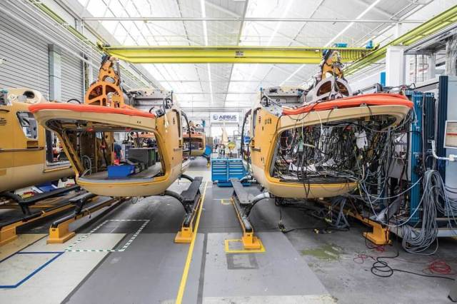 With each Airbus helicopter rolling off the production line in its mission fit, more than 20 kilometers of wiring in each aircraft must be tested. Lloyd Horgan Photo