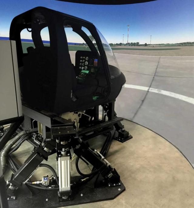 Frasca's Bell 206 Level 7 flight training device, with the manufacturer's Motion Cueing System. Frasca Photo