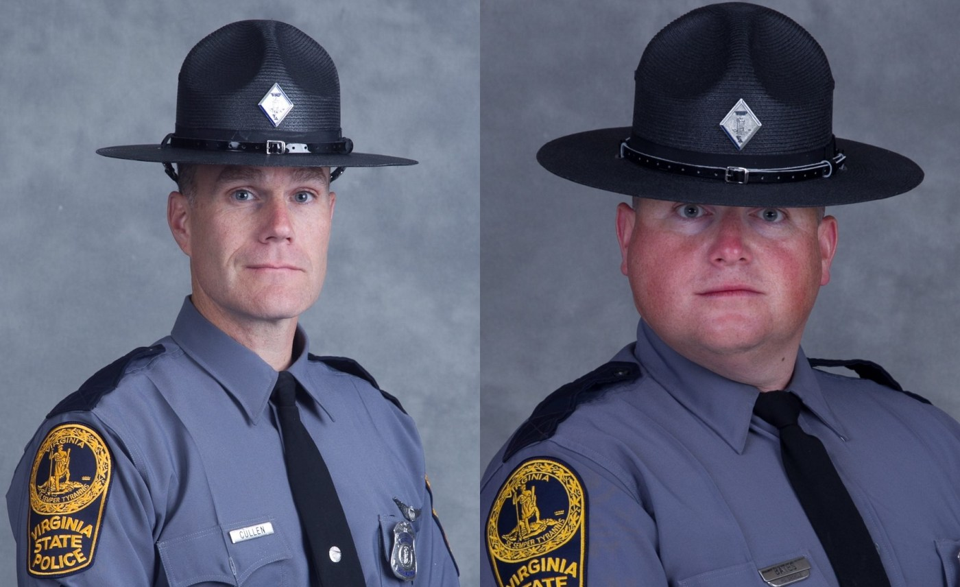 Lieutenant H. Jay Cullen of Midlothian, Virginia, and Trooper-Pilot Berke M.M. Bates of Quinton, Virginia, died when their helicopter crashed on Aug. 12. Virginia State Police Photos
