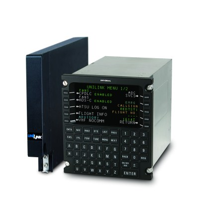 The software upgrade provides an optional configuration for Aeronautical Telecommunications Network Baseline 1 controller-pilot data link communications and context management functions required for the European mandate, formerly known as Link 2000+. Universal Avionics Photo