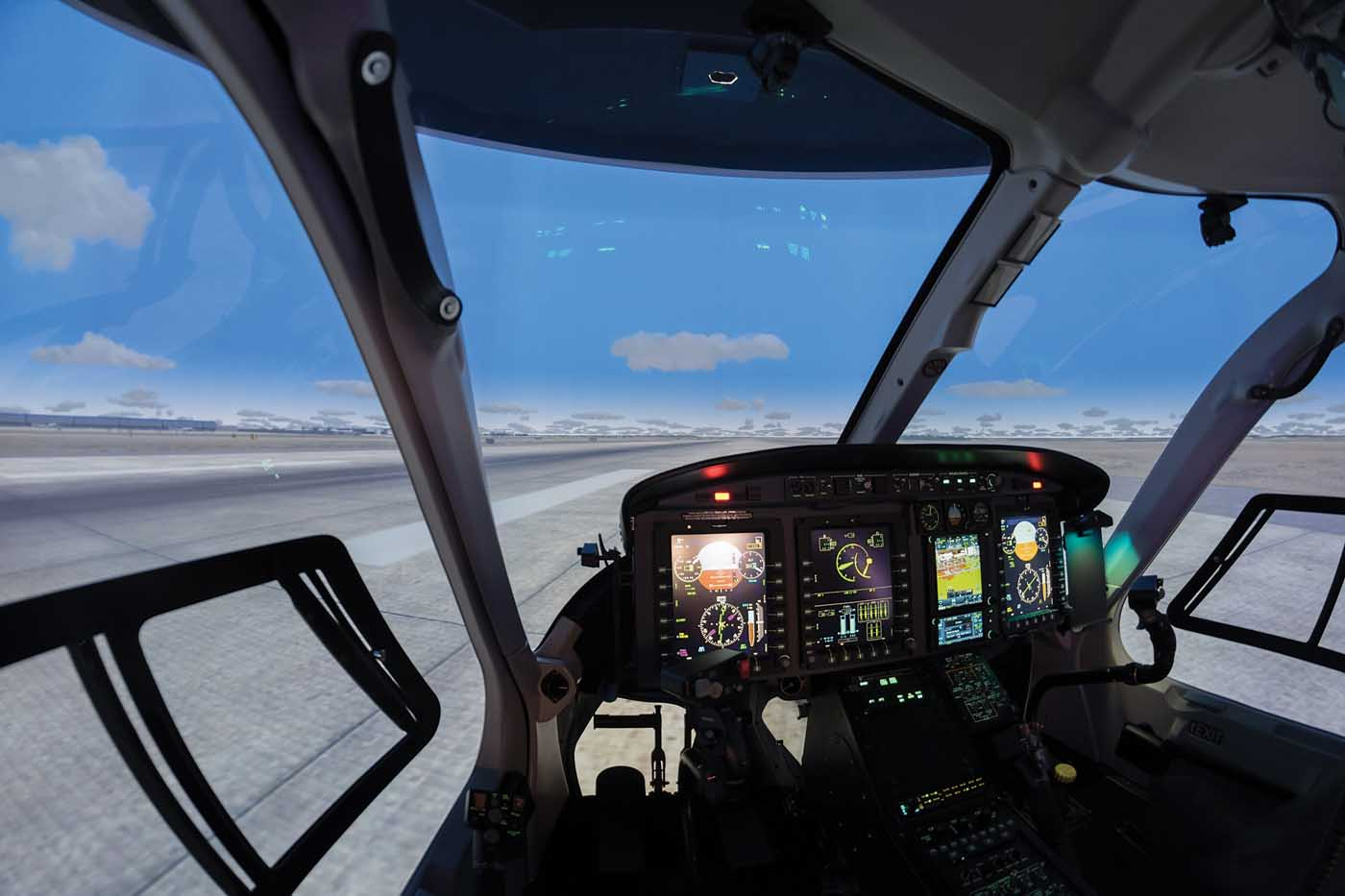 A look at the cockpit inside the Bell 429 full flight simulator located in the new Bell Helicopter Training Academy in Valencia, Spain. The facility opened its doors in February, 2017. Lloyd Horgan Photo