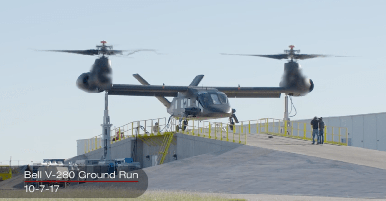 The Bell V-280 Valor achieved ground run testing at 100 percent rotor RPM on Oct. 7, 2017. Image from Bell Helicopter video
