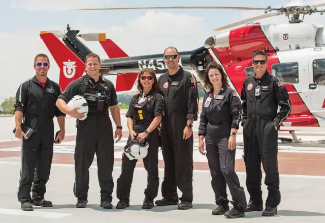 From left, pilot Jake Bass, flight paramedic Jesse Lang, flight nurse Judy Maas, pilot John Matthews, flight nurse Lisa Brasher, and flight paramedic Wade Spivey. Dan Megna Photo