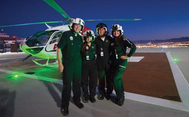 From left, a light moment with flight respiratory therapist, Cory Thompson, flight nurse Melanie Thelin, pilot Chris Mackle and flight nurse Windi Bray. Dan Megna Photo