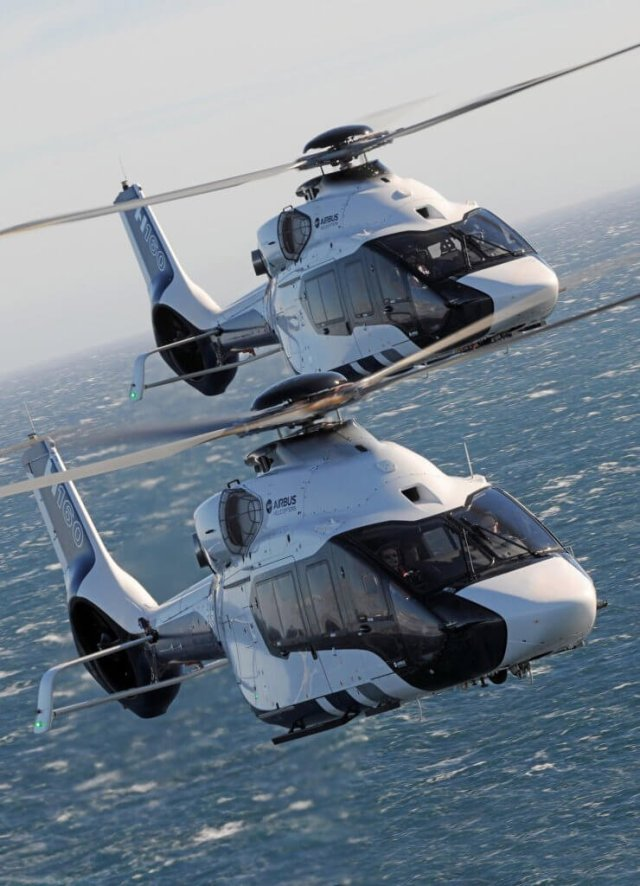 The H160, with three prototypes now in flight testing, is currently preparing certification and entry into service in 2019, with the first version to be the passenger transport one. Airbus Helicopters Photo