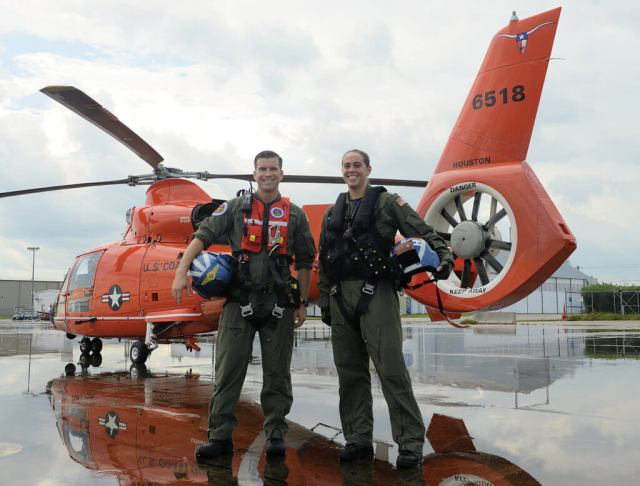Aviation survival technician Daniel Strange, left, and pilot Lieutenant Amanda Montour are both stationed at Air Station Houston. Montour's crew was responsible for over 20 lives saved or assisted in the aftermath of Hurricane Harvey, while Strange personally conducted 13 rescues. USCG Photo