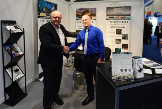 Richard Borkowski of REBTECH (left) and Ralf Kuerzi of Kuerzi Avionics celebrate the new partnership. Oliver Johnson Photo