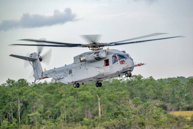 Three 7,378-rated shaft horsepower T408 engines will provide the power for the King Stallion, enabling the aircraft to carry a 27,000-pound external load over a mission radius of 110 nautical miles. NAVAIR Photo