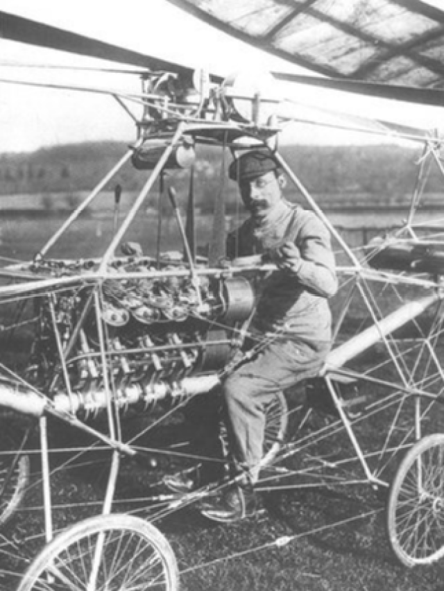 At 24 years old, Paul Cornu designed and built a working, two-rotor model helicopter that weighed 29 pounds. FAI Photo