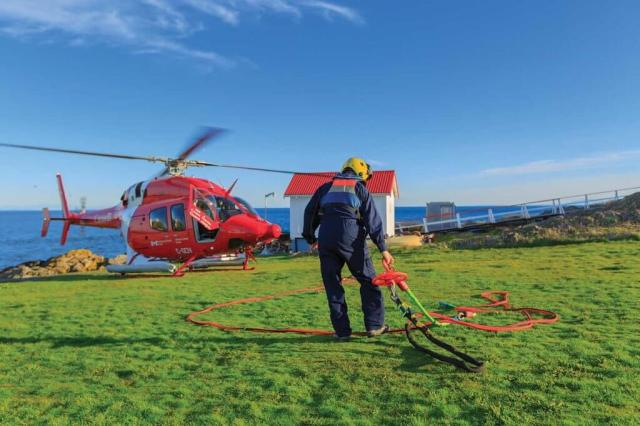 Mosher and Lavallee said the aerial construction work completed by the Coast Guard is the most appealing part of their job, due to the challenge it provides. Mike Reyno Photo