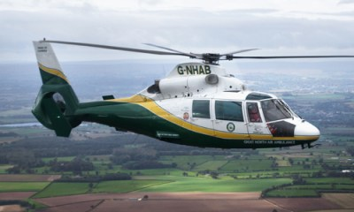 The Great North Air Ambulance Service operates three Airbus AS365 Dauphins, and it is the only air ambulance service based in the county. GNAAS Photo