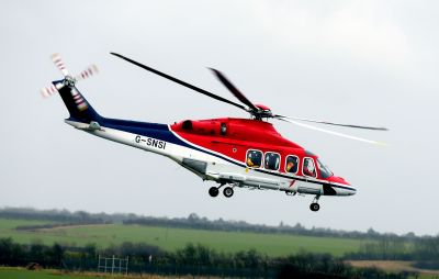A combination of Leonardo AW139 (pictured here) and AW169 helicopters will begin flying out of Humberside heliport from April 2018 to support the construction and support phases of Ørsted's Hornsea Project One—which is expected to be the largest wind farm in the world. CHC Photo