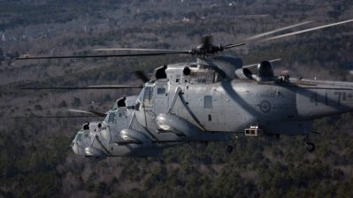 A trio of RCAF CH-124 Sea Kings conducted a flypast over Halifax, N.S., on Jan. 26, 2018, to commemorate the last operational Sea King flight by 12 Wing Shearwater's 423 Maritime Helicopter Squadron. DND Photo