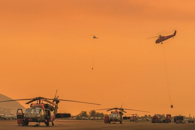 The Santa Paula Airport served as the main helibase for the fire, providing home to at times over 20 helicopters. MSAVI Photography