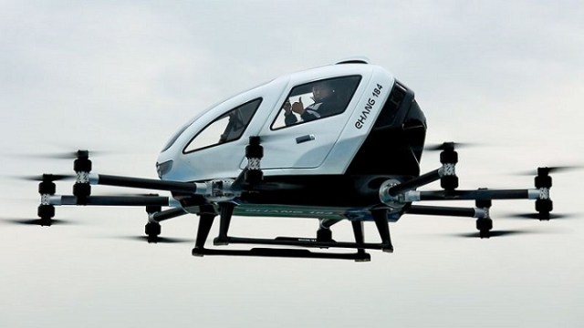 Ehang CEO Hu Huazhi completes a flight test in the Ehang 184 autonomous aerial vehicle. Ehang Photo