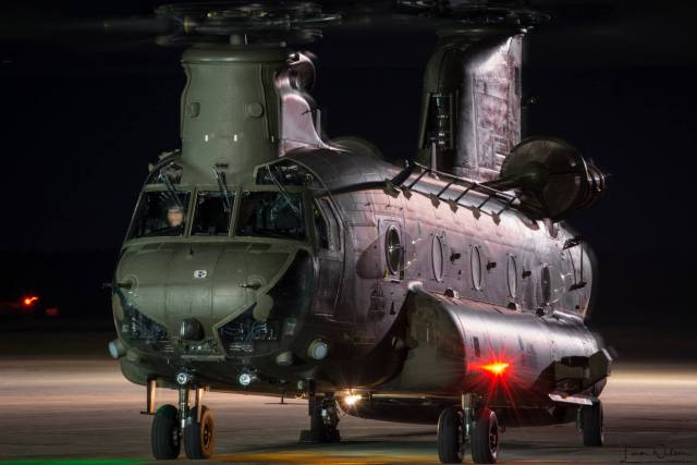 A Boeing Chinook belonging to the U.K.'s Royal Air Force sits on the tarmac at RAF Odiham in southern England. Photo submitted by Liam Wilson