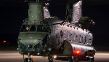A Boeing Chinook belonging to the U.K.'s Royal Air Force sits on the tarmac at RAF Odiham in southern England. Liam Wilson Photo