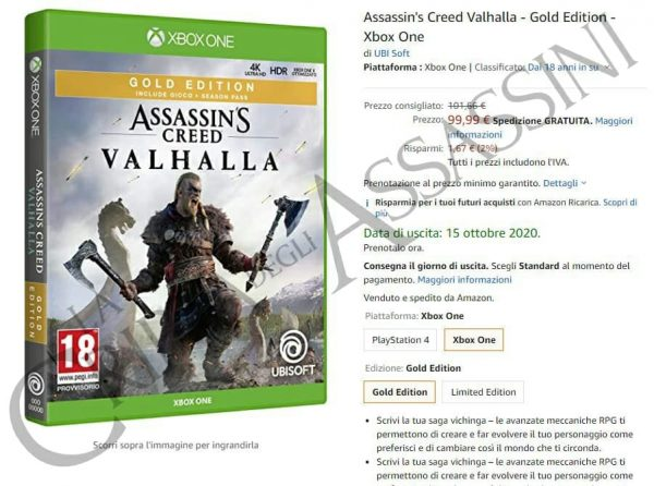 Assassin's Creed Valhalla listing shows up on Amazon Italy