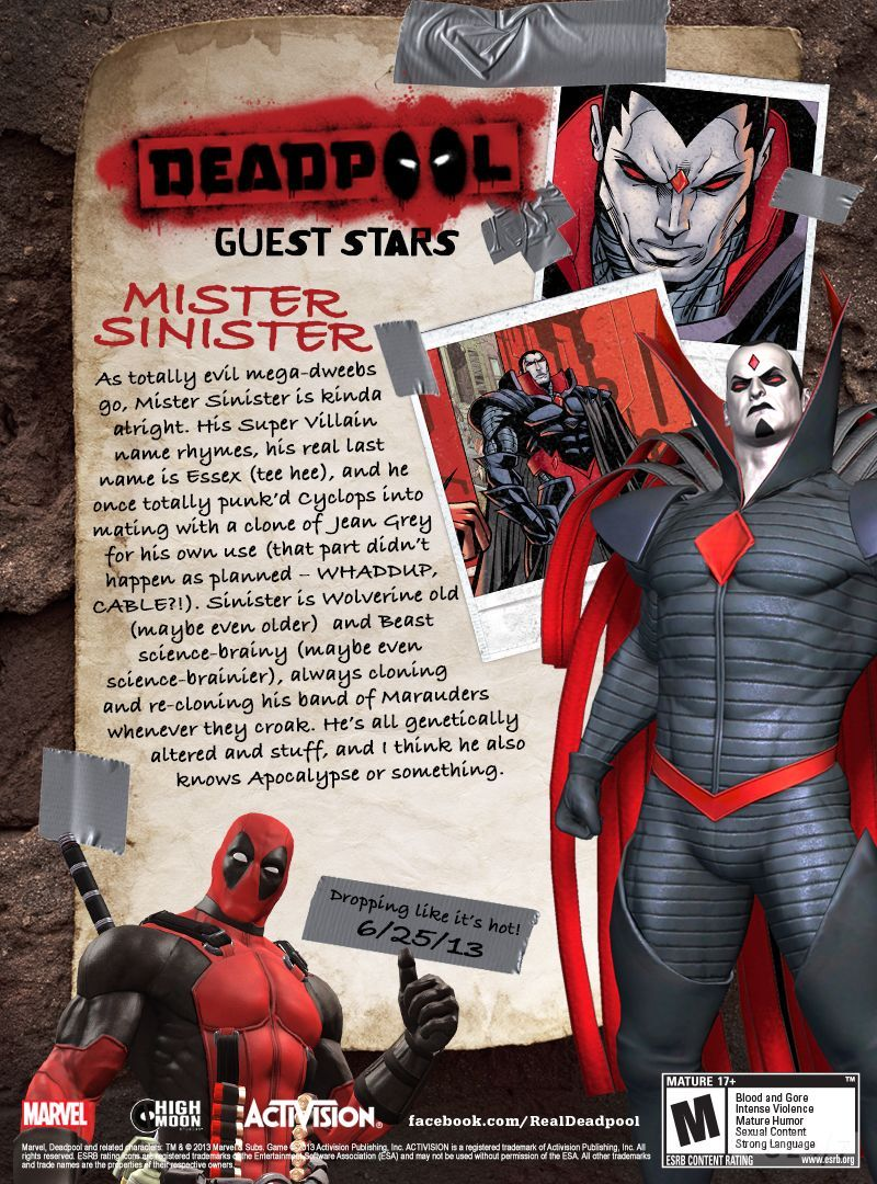 Deadpool To Include Mister Sinister And Psylocke VG247