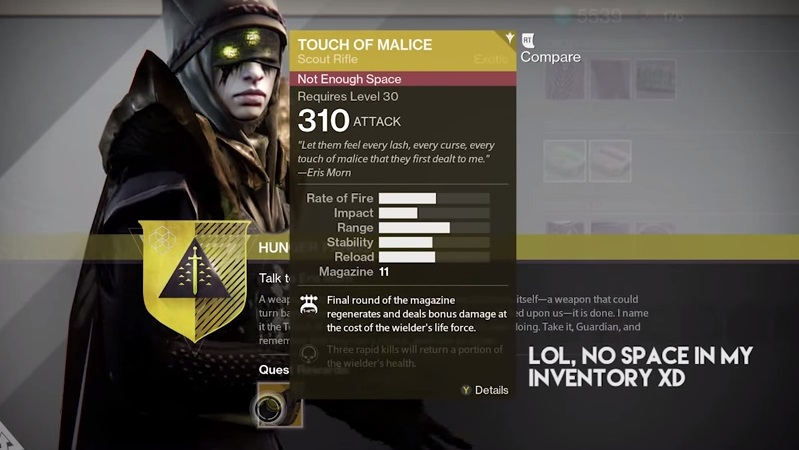 Destiny The Taken King How To Get New Exotic Scout Rifle Touch Of Malice VG247