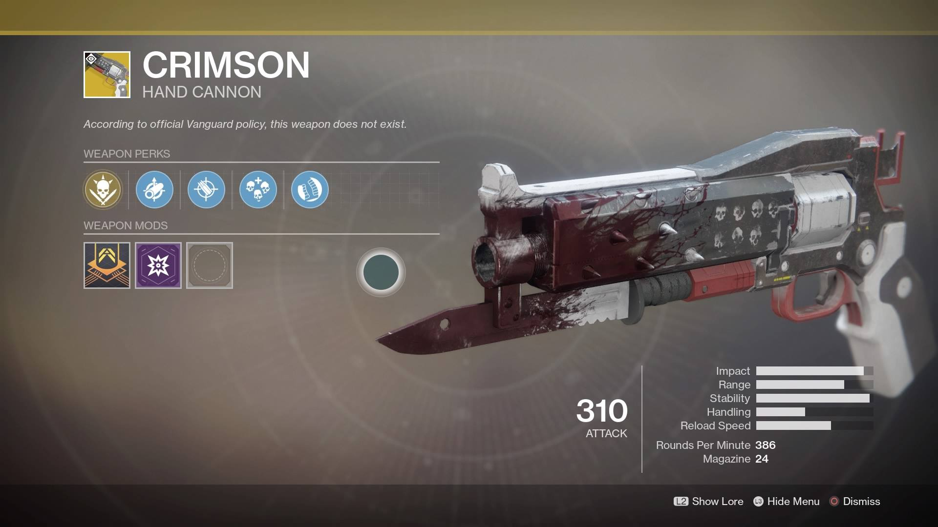 Destiny 2 Curse Of Osiris Check Out The Crimson A Red Death Like Exotic Hand Cannon In This