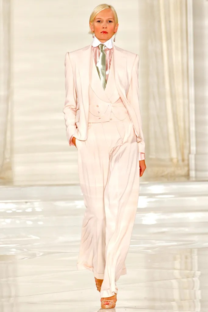 Katia Kokoreva wears a tailored look from Ralph Lauren's Spring 2012 collection