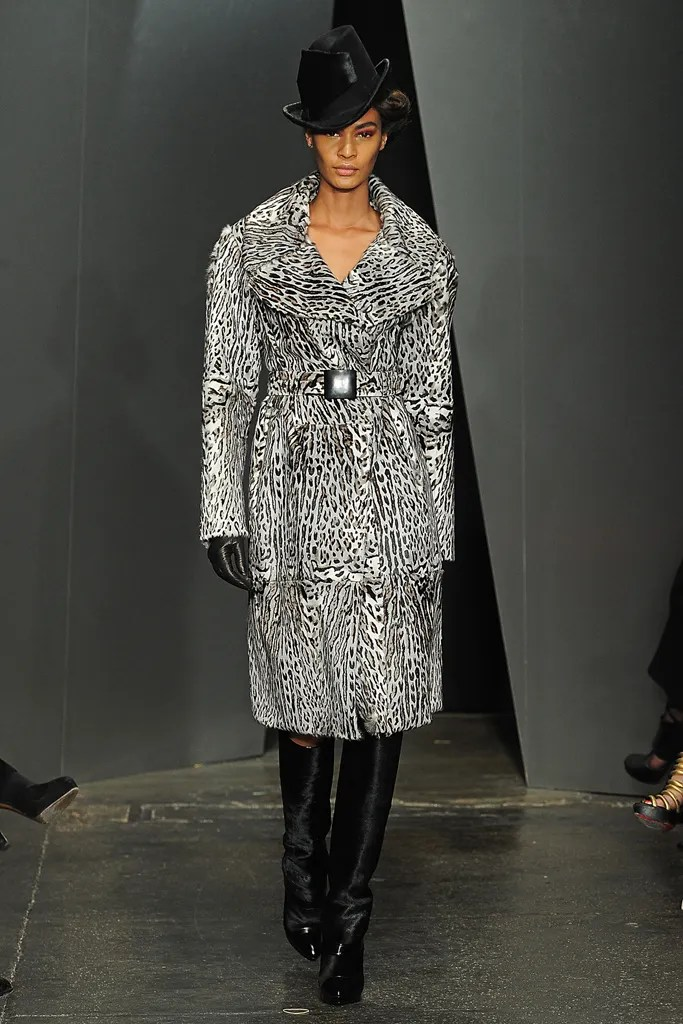 Joan Smalls wears a faux fur coat from Donna Karan FW 2012