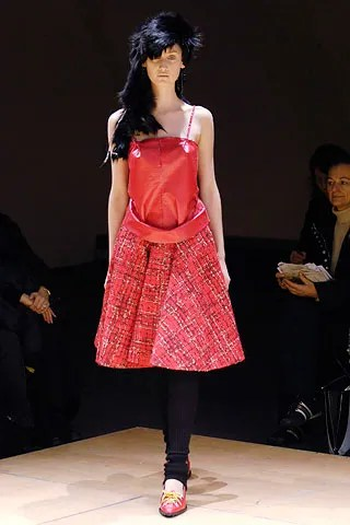 Junya Watanabe dress in red PVC and mohair plaid