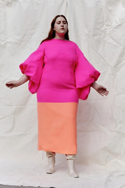 Image may contain Clothing Apparel Dress Human Person Female Cape Lauren Aquilina and Woman