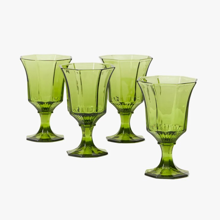 Image may contain: Glass, Goblet, Green, and Crystal