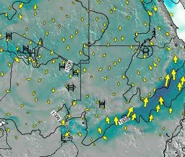 HD Decor Images » Sudan Surface Wind on Sunday 08 Jul at 3pm EAT Sudan Weather Map