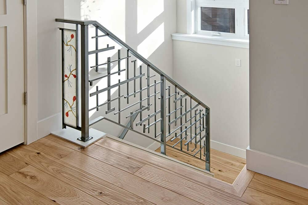 Project Overview Whimsical Stair Railing   Custom Stair Railing Near Me   Metal   Stainless Steel   Iron Railing Ideas   Glass Railing   Stair Treads