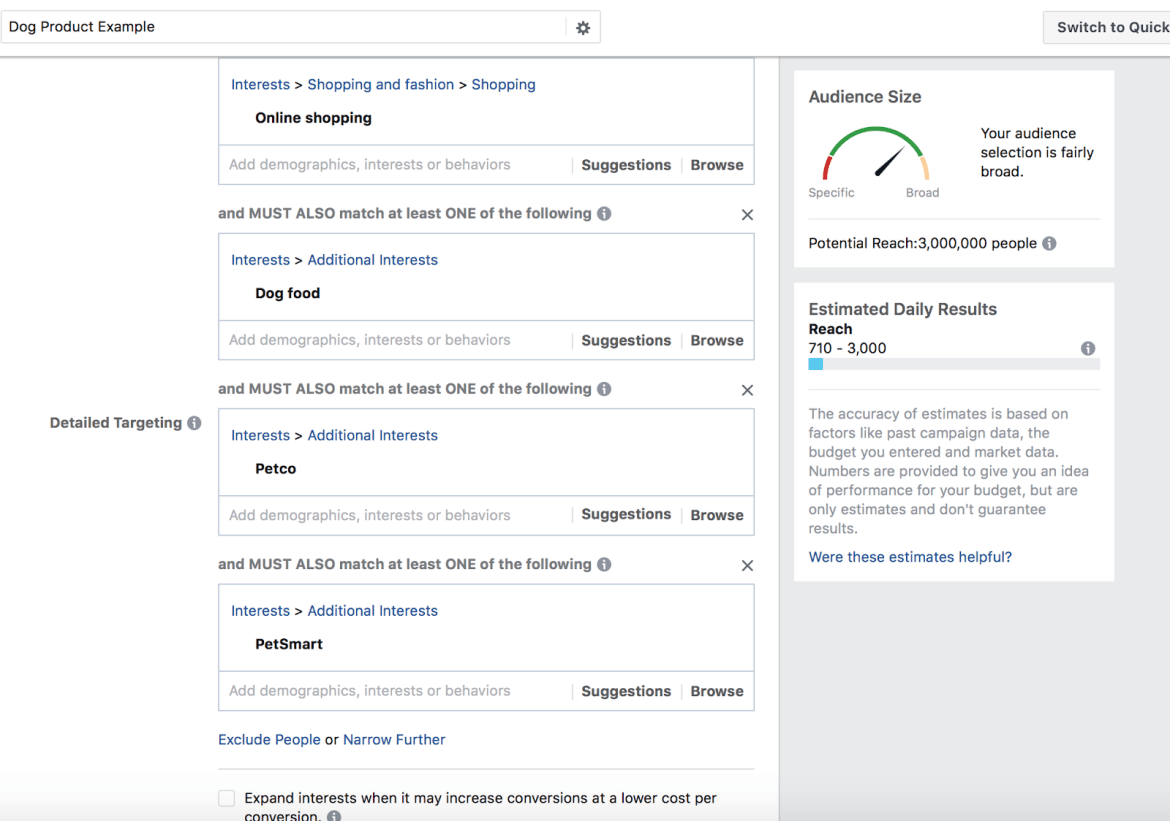 Targeting strategy on Facebook ads manager where the interest variable is manipulated