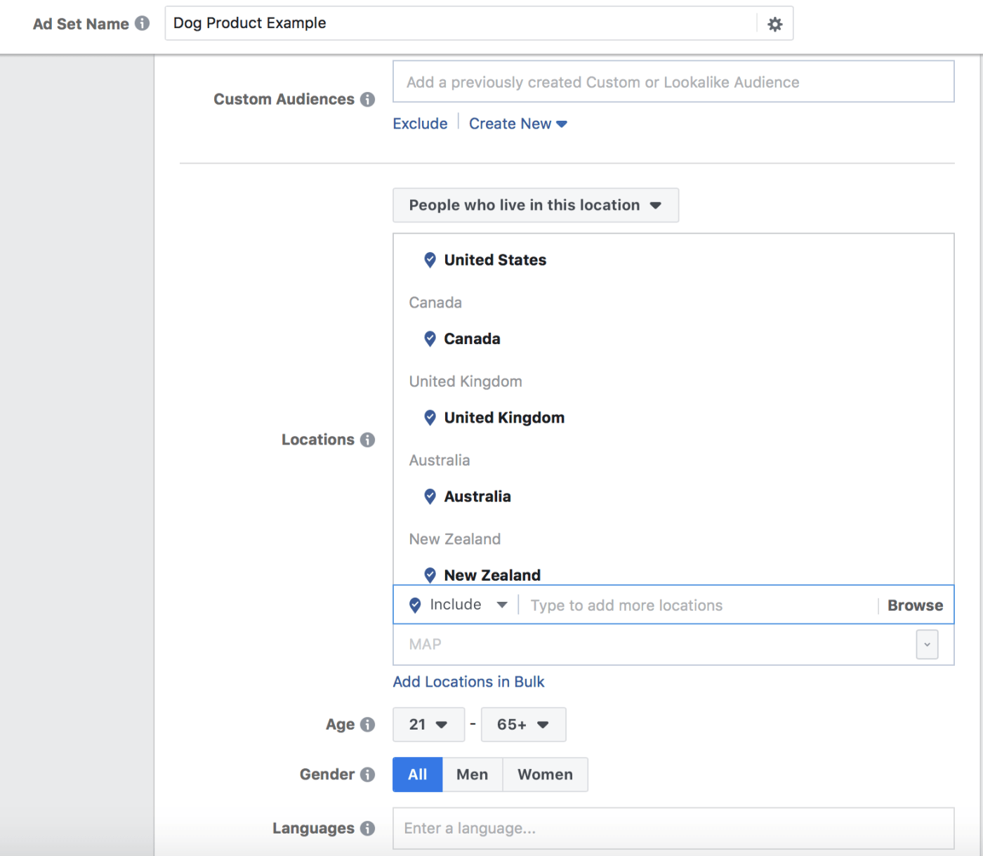 The page where you select audiences for Facebook ad sets