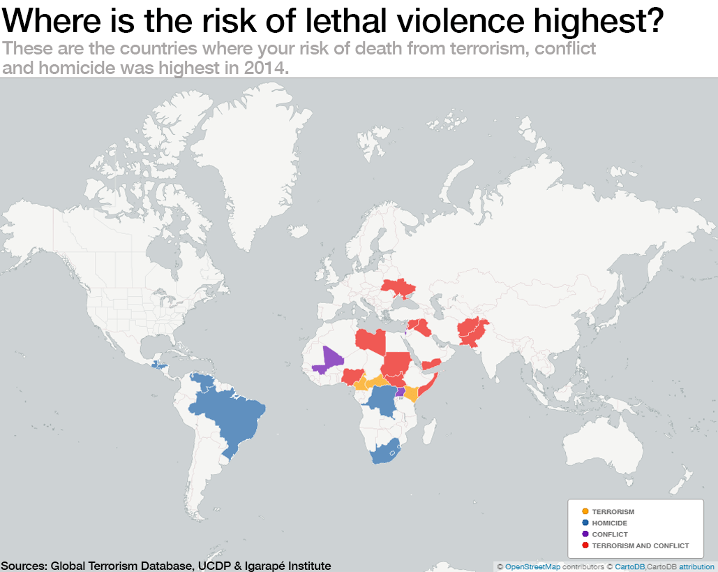 Where is the risk of lethal violence highest?