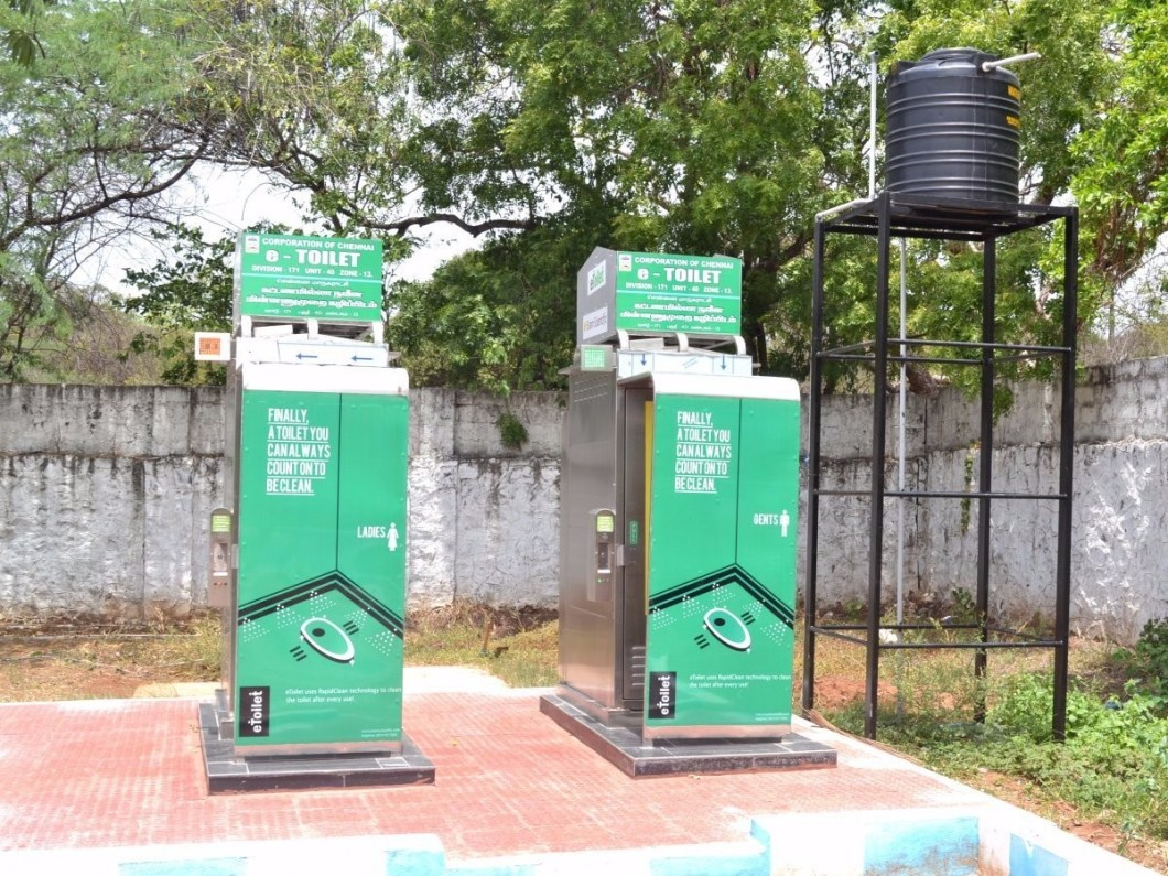 eToilets provide cheap sanitation to residents in India.