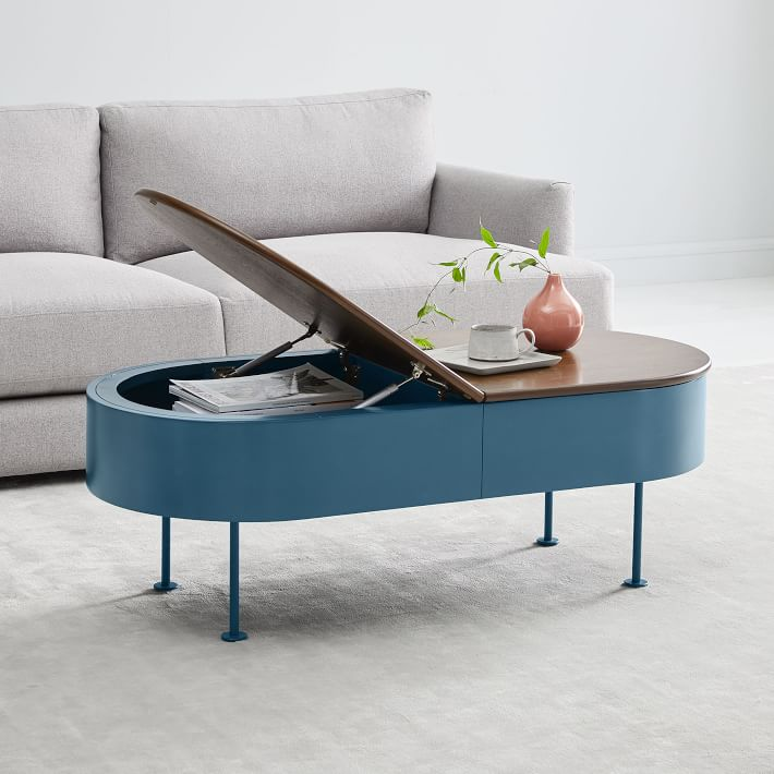 distressed light blue coffee table