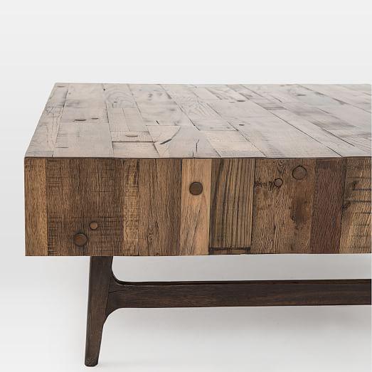 modern reclaimed oak coffee table