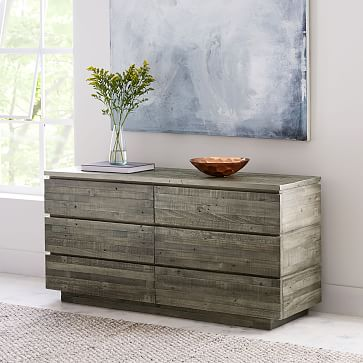 emmerson modern reclaimed wood 6 drawer dresser stone gray