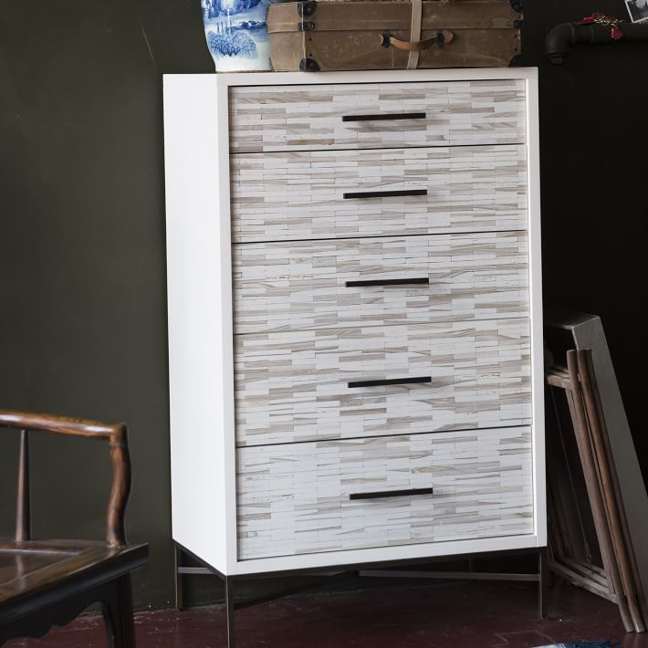 wood tiled 5 drawer dresser