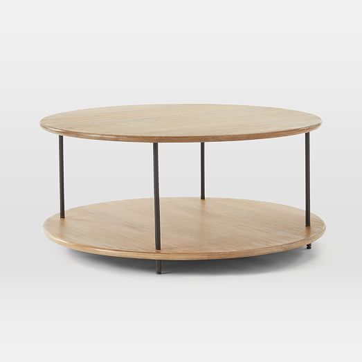tiered wood coffee table