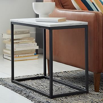 box frame narrow side table marble