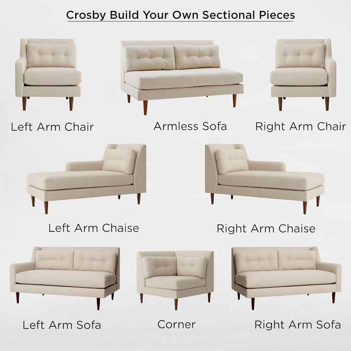 crosby mid century sectional pieces