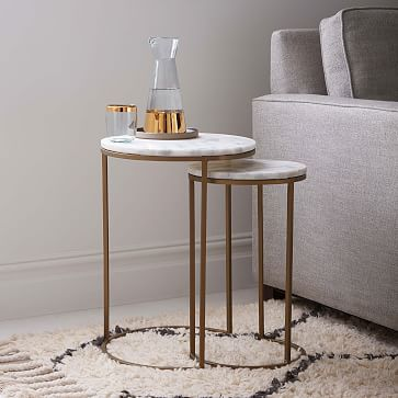 marble round nesting side table set of 2