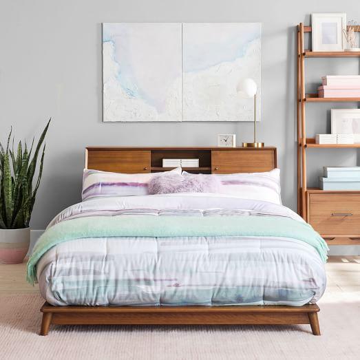 mid century headboard storage platform bed acorn