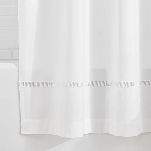 organic ladder lace shower curtain