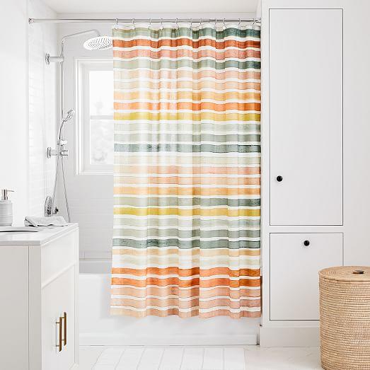 organic watercolor stripe shower curtain