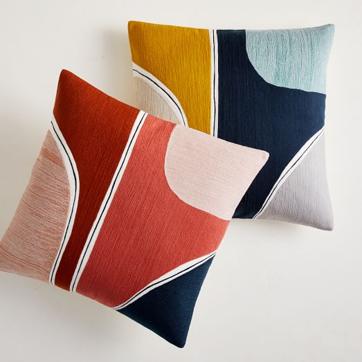 crewel outlined shapes pillow cover